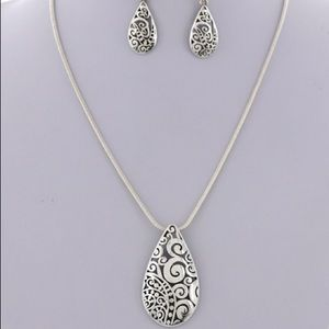 Silver Filigree Pendant Necklace Set